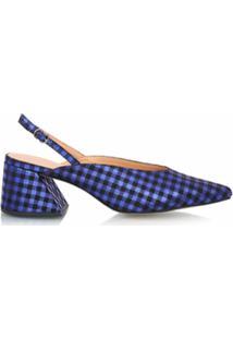 Luiza Barcelos Scarpin Salto Geométrico Xadrez - Azul
