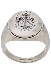 Alexander Mcqueen Engraved Signet Ring - Prateado