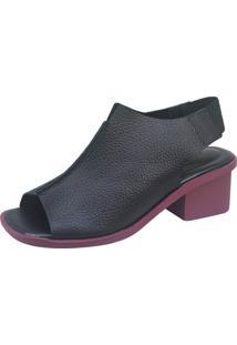 Sandália S2 Shoes Mila Preto E Vinho