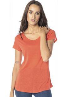 Camiseta Cora Básico Decote Redondo Podrinha Linho Feminina - Feminino-Laranja