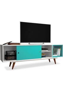 Rack Para Tv 47 Polegadas, Com Porta Deslizante E Prateleira, Branco Com Turquesa, Vintage 50 Ii