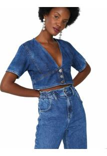 Blusa Jeans Com Botões Frente