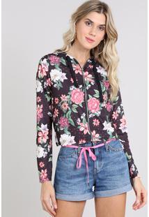 cef3d88fc1 CEA. Blusão Feminino Estampado Floral Em Moletom ...