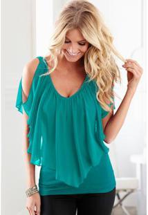 Blusa Verde Com Babado