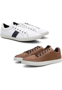 Kit 2 Pares Sapatênis Padinne Casual Confort Masculino - Masculino-Marrom+Gelo