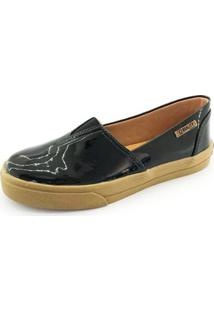 Tênis Slip On Quality Shoes Verniz Feminino - Feminino-Preto
