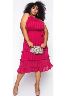 Vestido Almaria Plus Size Kayla Sines Chiffon Pink