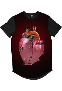 Camiseta Longline Bsc Coração De Máquina Motor Rosa Sublimada Vermelho