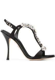 Dolce & Gabbana Sandália Com Aplicação De Cristais - Preto