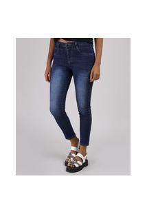 Calça Jeans Feminina Sawary Cigarrete Cintura Média Azul Escuro