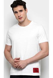 Camiseta Calvin Klein Básica Etiqueta Patch Masculina - Masculino-Branco