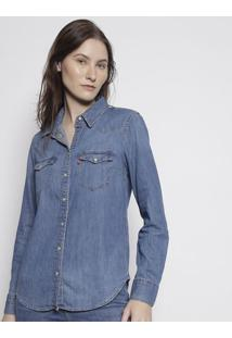 Camisa Jeans Com Recortes & Bolsos- Azullevis