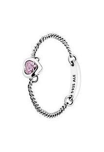 Anel Amuleto Do Amor Rosa- Prata & Rosa Claro- Tamanpandora