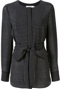 Cefinn Striped Long Sleeve Blouse - Preto