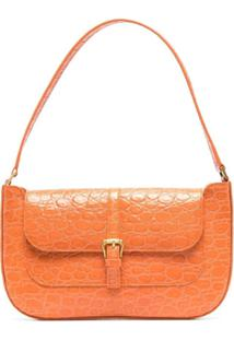 By Far Miranda Crocodile-Effect Shoulder Bag - Laranja