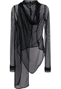 Rick Owens Lilies Sheer Oversized Jacket - Preto