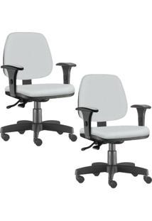 Kit 02 Cadeiras Giratã³Rias Lyam Decor Job Corino Branco - Branco - Dafiti