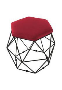 Puff Aramado Preto Assento Hexagonal Suede Vermelho - Ds Móveis