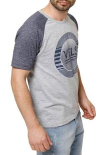 Camiseta Manga Curta Masculina Vels Cinza/Azul