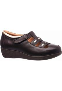 Sapato Conforto Couro Glace Doctor Shoes Feminino - Feminino-Café