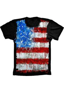 Camiseta Manga Curta Lu Geek Flag Usa Preto