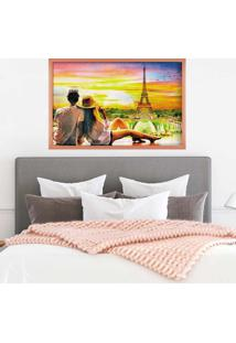 Quadro Love Decor Com Moldura Amour Parisien Rose Metalizado - Grande