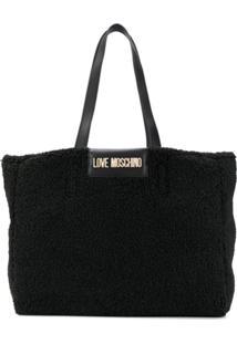 Love Moschino Bolsa Tiracolo De Lã Com Logo - Preto