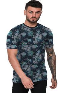 Camiseta Di Nuevo Florida Orquídea Azul Floral Azul