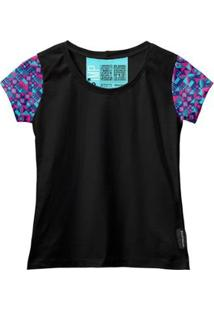 Camiseta Baby Look Feminina Algodão Estampa Moda Casual Leve - Feminino-Azul+Preto