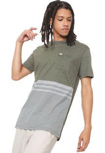 Camiseta Hang Loose Especial Listras Verde/Cinza
