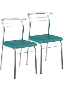 Cadeira 1708 Cromada 02 Unidades Napa/Turquesa Carraro
