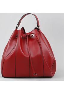 Bolsa Bucket Feminina Grande Com Alça Transversal Vermelha