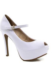 Sapato Bebecê Noivas Peep Toe Verniz - Feminino-Branco