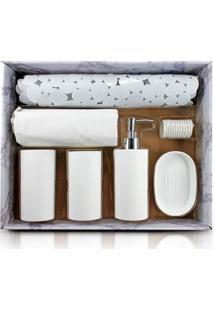 Kit Banheiro Completo Saboneteira Tapete Porta Escovas Cortina Box Branco