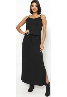 Vestido Longo Com Elástico E Amarração- Preto- Vittrvittri