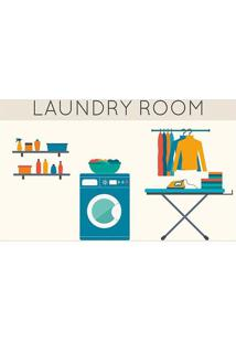"Tapete ""Laundry Room""- Bege & Azul Escuro- 60X40Cm"