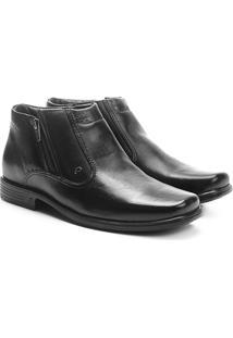 Sapato Social Couro Pegada Perfuros Masculino - Masculino-Preto