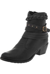 Bota Dafiti Shoes Cano Curto Folk Tressê Preto