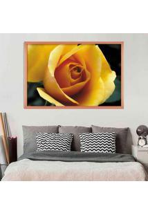Quadro Love Decor Com Moldura Rosa Amarela Rose Metalizado Médio