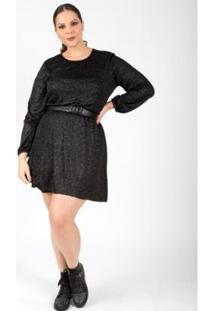 Vestido Almaria Plus Size Lady More Malha Lurex Feminino - Feminino-Preto