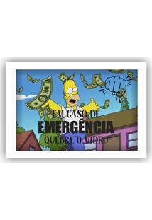 Quadro Cofre Vintage Simpsons Em Caso De Emergência Quebre O Vidro Art Frame
