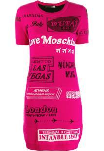 Love Moschino Vestido Com Padronagem - Rosa