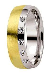 Aliança De Casamento Feminina Ouro 18K E Prata 950 Wm Joias 6,5Mm Com Zircônia F2575 - Feminino-Dourado