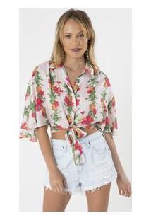 Camisa Floral Com Amarração Frontal
