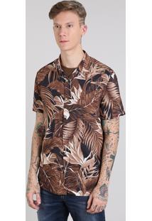 Camisa Masculina Estampada De Folhagem Manga Curta Preta
