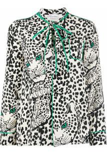 Red Valentino Blusa Com Laço Na Gola E Estampa De Leopardo - Branco