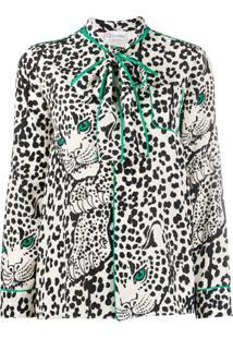 Redvalentino Leopard-Print Pussy-Bow Blouse - Branco