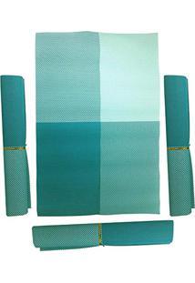 Jogo Americano 4 Pecas Para Mesa De Jantar Pratico Azul Verde Agua (Jma-A)