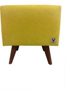 Puff Pé Palito Quadrado Alce Couch Velvet Next Amarelo 40Cm