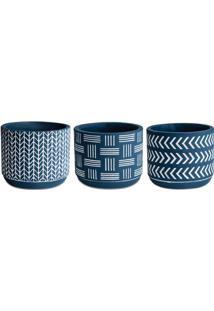 Jogo De Cachepot Geomã©Trico- Azul Escuro & Branco- 3Mart